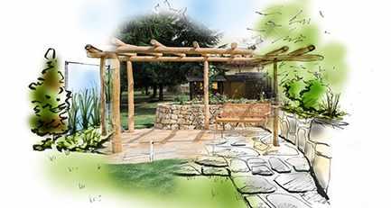 Gartenplanung-Gartengestaltung-Treppe-Natursteinmauer-Pergola